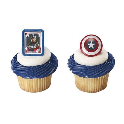 Captain America Cupcake Rings