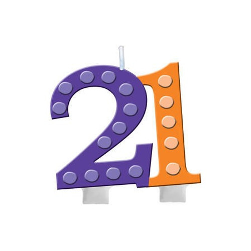 21st Birthday Molded Numeral Candle