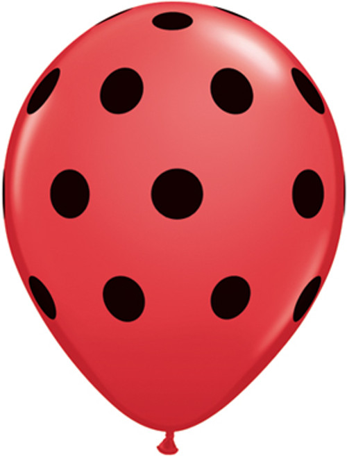 "11"" Big Polka Dots Black & Red Latex Balloon"