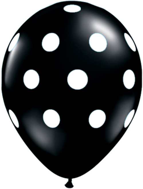 "11"" Big Polka Dots Black Latex Balloon"
