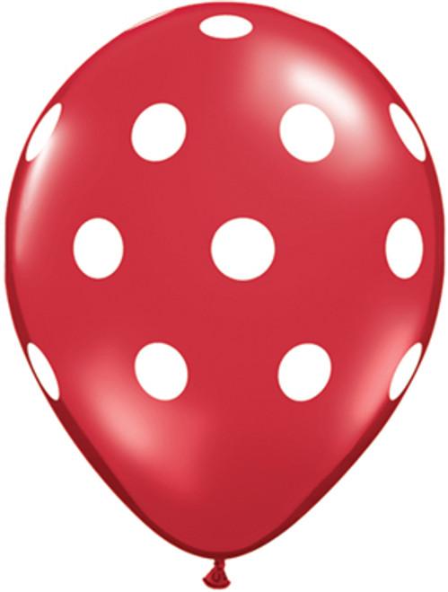 "11"" Big Polka Dots Red Latex Balloon"