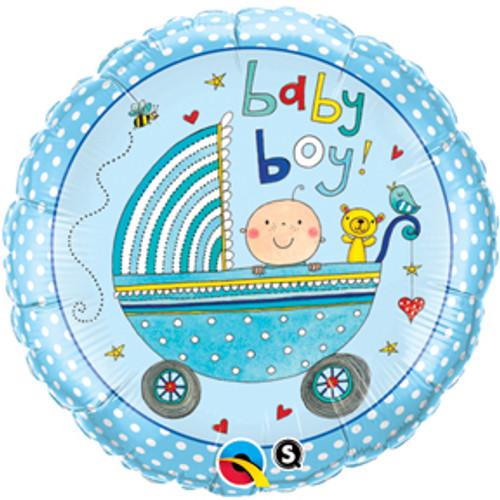 "18"" Rachel Ellen Baby Boy Stroller Balloon"