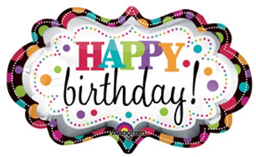 "27"" Happy Birthday Marquee Super Shape Balloon"
