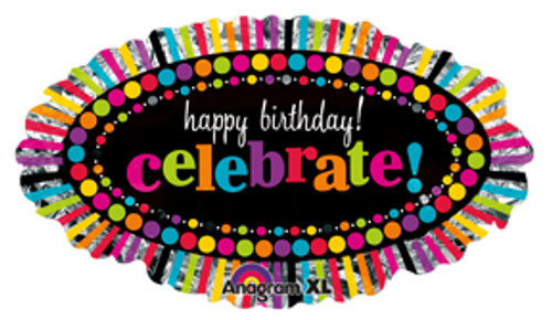 "31"" Happy Birthday Rainbow Celebrate Super Shape Balloon"