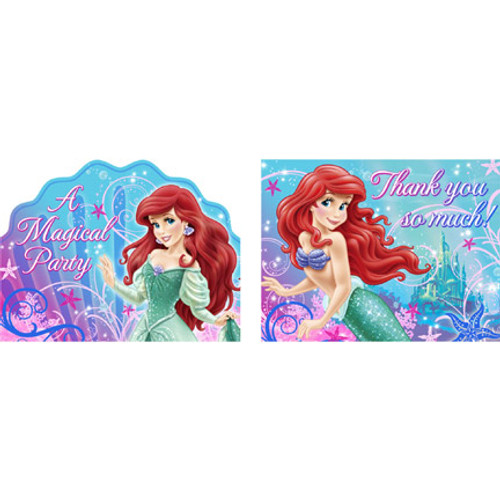 Little Mermaid Sparkle Invitations & Thank You Combo