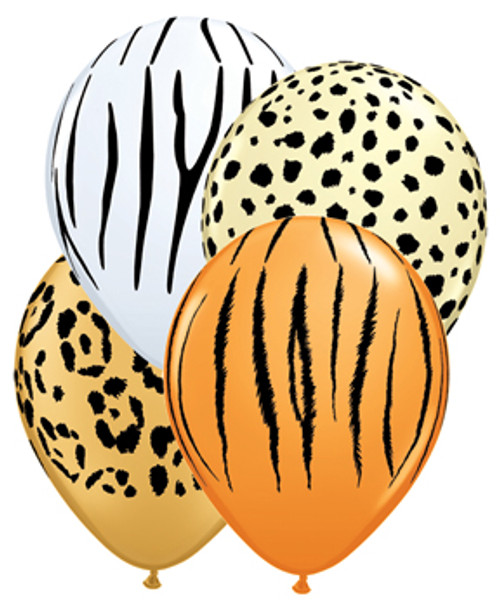 "11"" Safari Animal Print Latex Balloon Assortment"