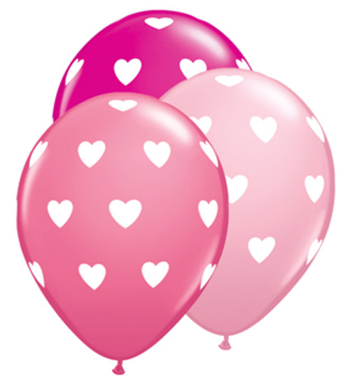 "11"" Big Hearts Pink Latex Balloon Assortment"
