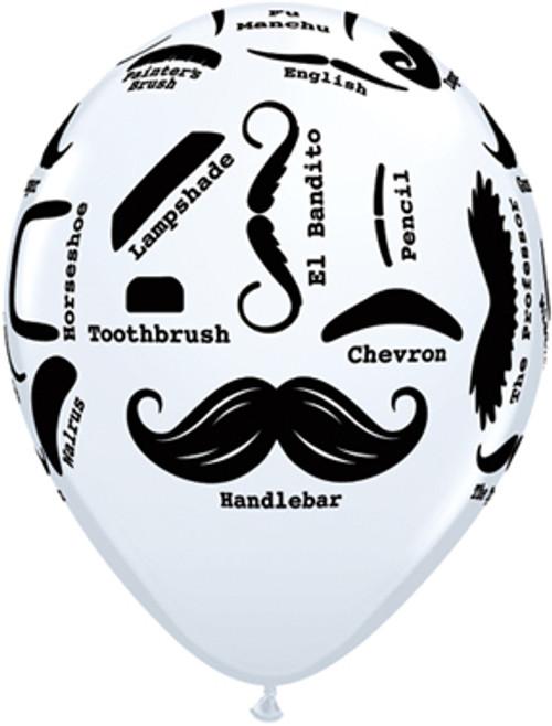 """11"""" Mustache Styles White Latex Balloon"""