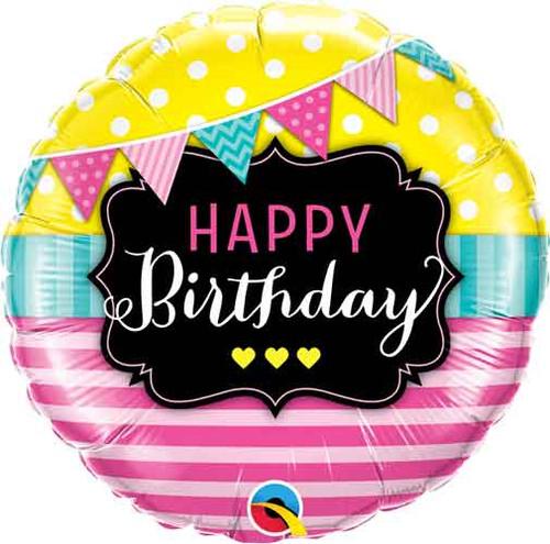 "18"" Birthday Pennants & Pink Stripes Balloon"
