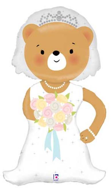 """43"""" Bride Bear Linky Super Shape Balloon"""