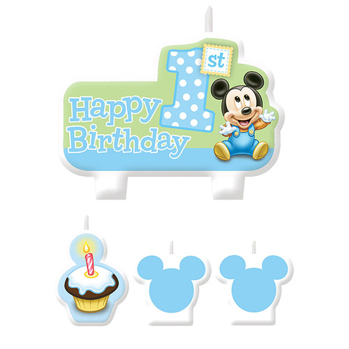 Mickey's 1st Birthday Molded Candle Set