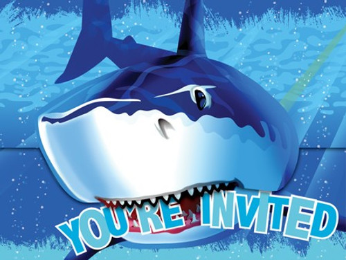 Shark Splash Invitation Cards & Envelopes