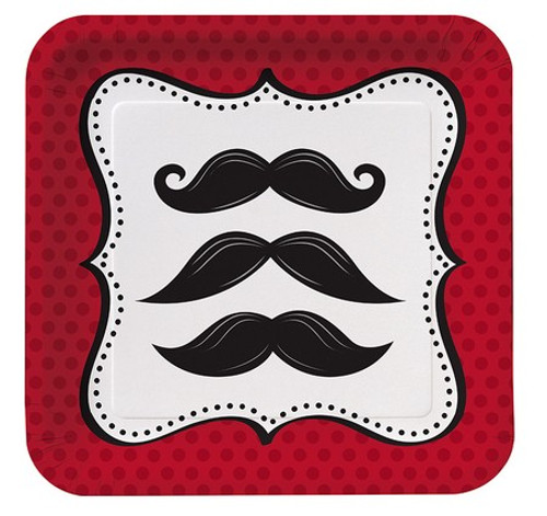 "Mustache Madness 7"" Square Lunch Plates"