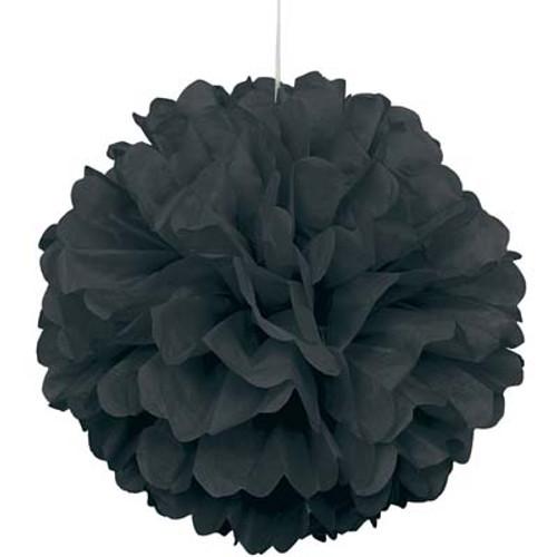 "Black 16"" Puff Ball Decoration"