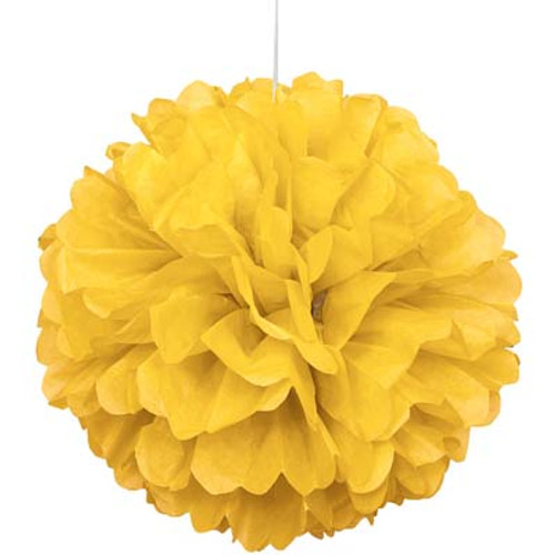 "Yellow 16"" Puff Ball Decoration"