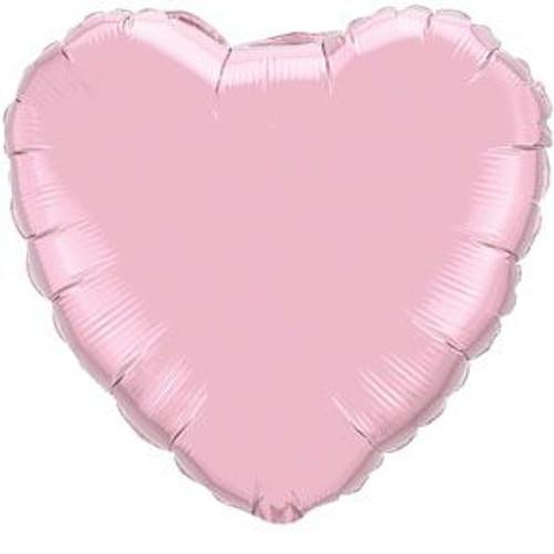 "18"" Metallic Pearl Pastel Pink Heart Foil Balloon"