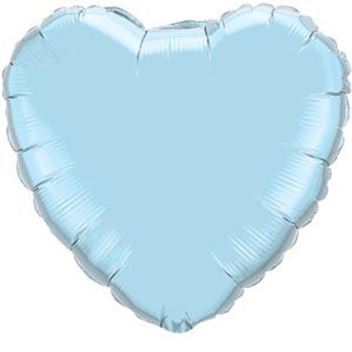 "18"" Metallic Pearl Pastel Blue Heart Foil Balloon"