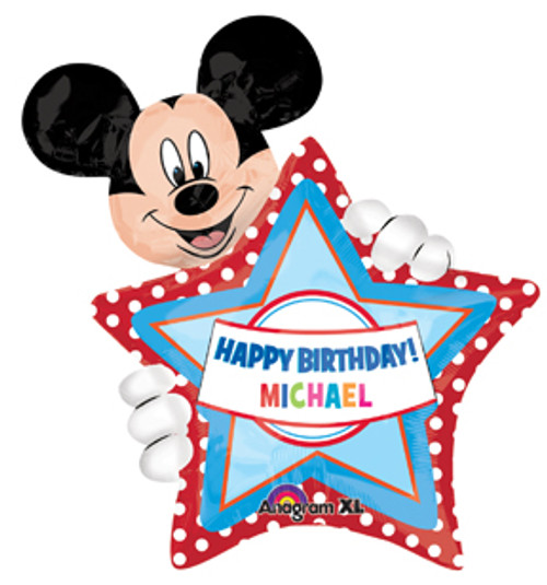 "30"" Mickey Mouse Birthday Personalized Super Shape Balloon"