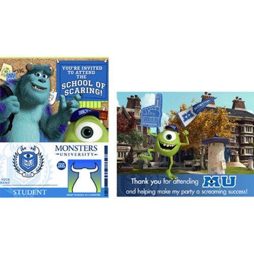 Monsters University Invitations & Thank You Combo