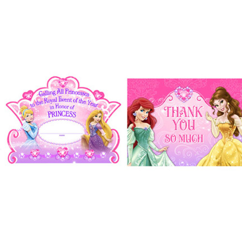 Disney Very Important Princess Invitations & Thank You Combo