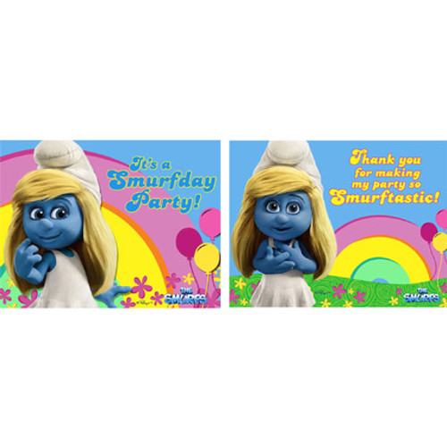 Smurfs 2 Invitations & Thank You Combo