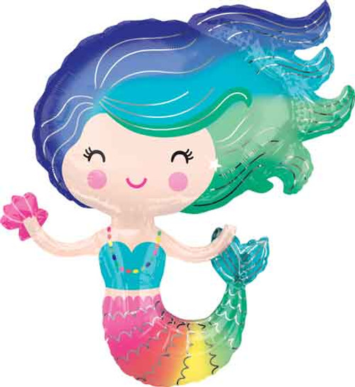 "30"" Colorful Mermaid Super Shape Balloon"