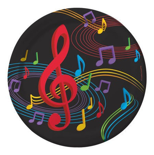 "Dancing Music Notes 9"" Dinner Plates"