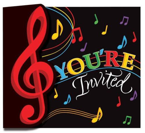 Dancing Music Notes Gatefold Invitations & Envelopes