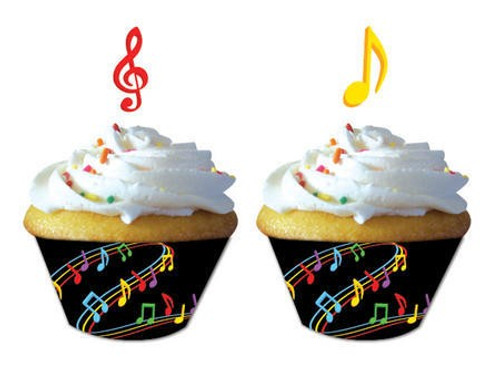 Dancing Music Notes Cupcake Wrapper & Picks