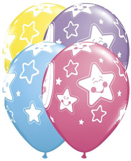 "11"" Baby Moon & Stars Latex Balloon"