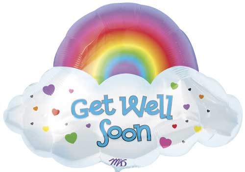 "24"" Get Well Soon Rainbow Super Shape Balloon"