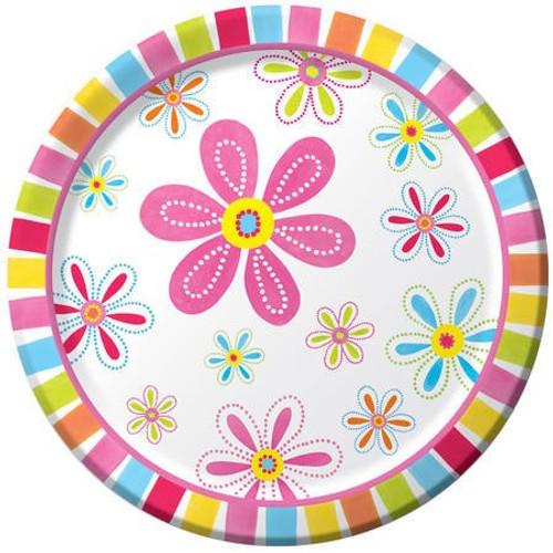 "Pink Flower Cheer 9"" Dinner Plates"