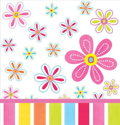 Pink Flower Cheer Plastic Tablecover