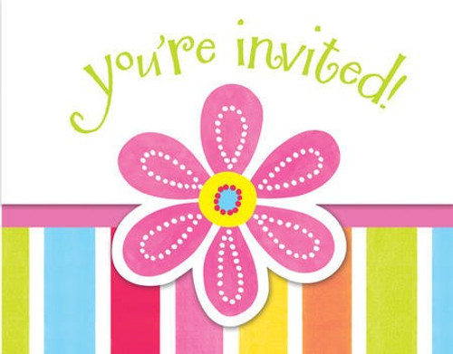 Pink Flower Cheer Gatefold Invitations & Envelopes