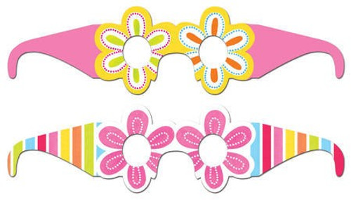 Pink Flower Cheer Paper Sunglasses