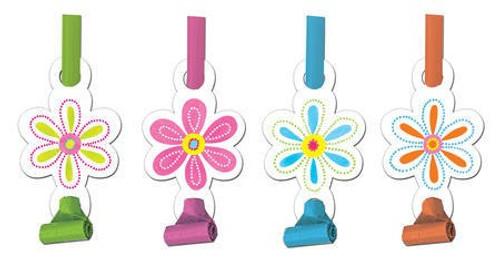 Pink Flower Cheer Blowouts