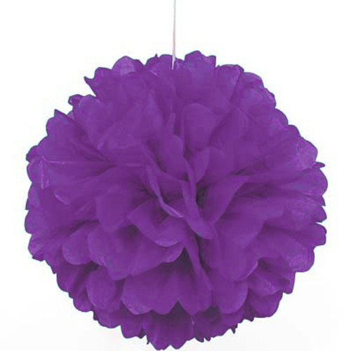 "Purple 16"" Puff Ball Decoration"