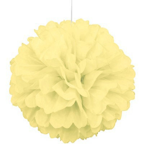 "Light Yellow 16"" Puff Ball Decoration"
