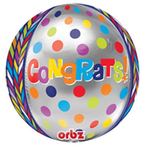 "16"" Dotty Geometric Congrats Orbz Balloon"
