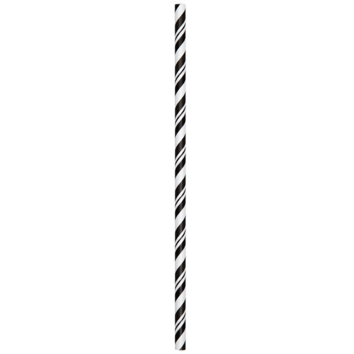 Black Striped Paper Straws 24pcs/pack