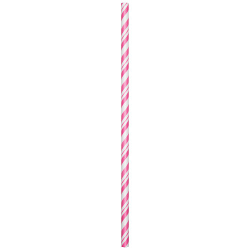Candy Pink Striped Paper Straws 24pcs/pack
