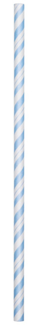 Light Blue Striped Paper Straws