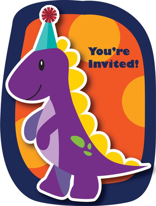 Little Dino Party Postcard Invitations with Attachment