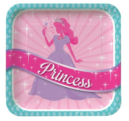 "Princess Party 9"" Square Foil Dinner Plates"