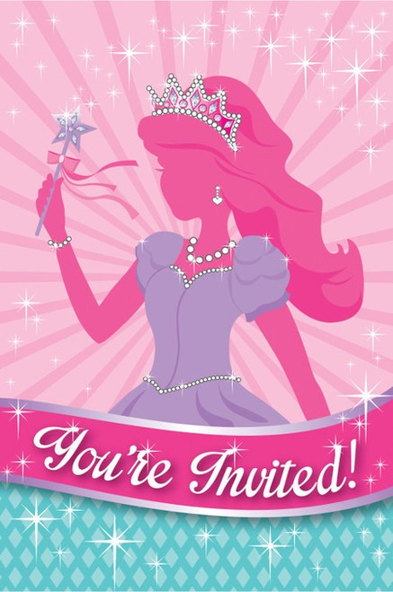 Princess Party Foil Postcard Invitations