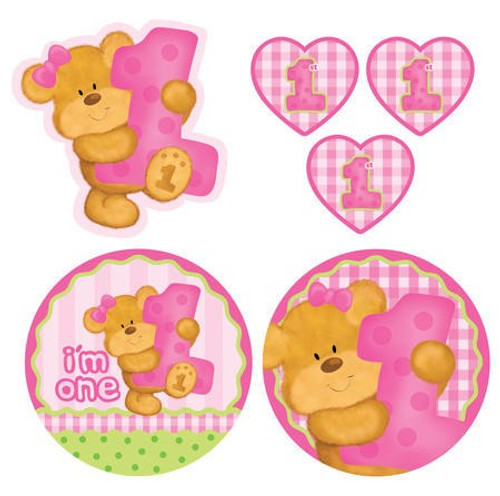 Bears 1st Birthday Girl Cutout Assortment