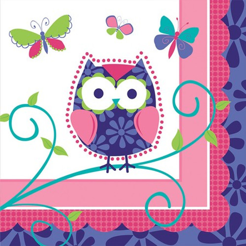 Owl Pal Birthday 3-Ply Beverage Napkins