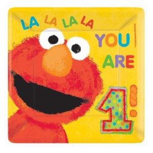 "Elmo's 1st Birthday 10"" Square Banquet Plates"