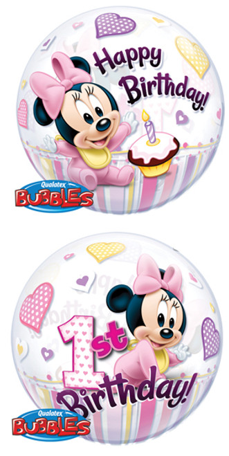 """22"""" Minnie's 1st Birthday Bubble Balloon"""
