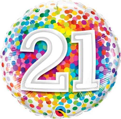 """18"""" 21st Rainbow Confetti Balloon"""